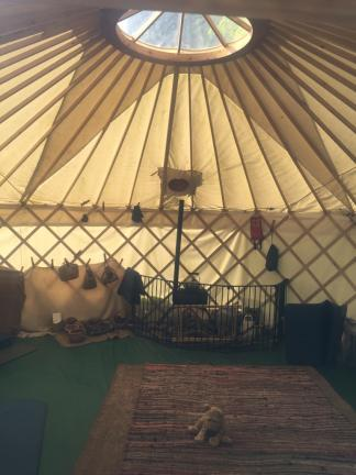 Inside the Stickland yurt.