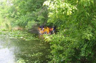 Summer campers at the pond.
