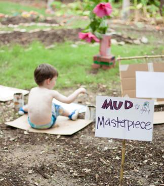 Making mud pies in the Tiny Tot Nature Spot